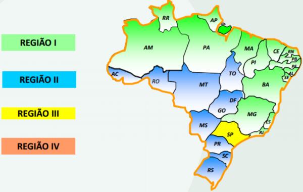 Como são divididas as regiões para Operação STFC no Brasil