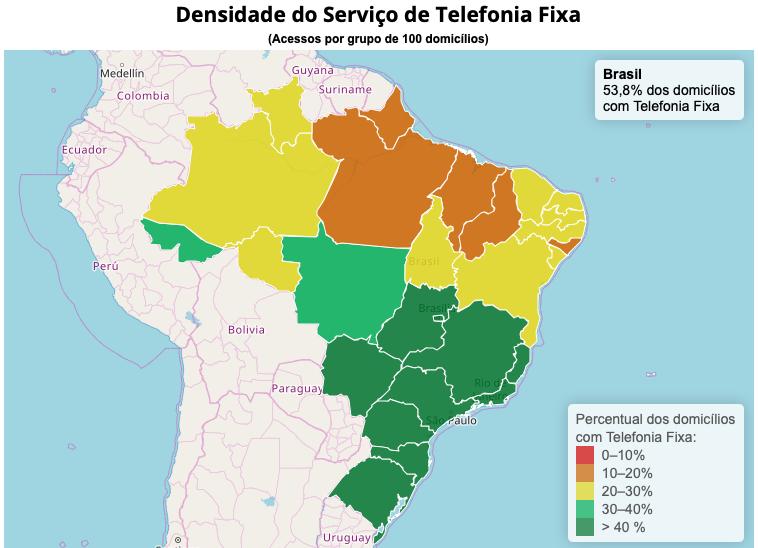 Densidade Telefonia Fixa - TELEFONIA FIXA em 2019